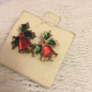 Tiny cloisonné red & green Christmas bell earrings